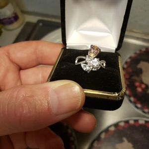 Sz 7 3 ct pink sapphire white topaz solid silver